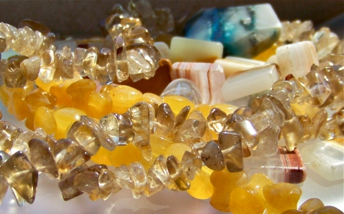 Smokey Quartz, Chrysocolla, Calcite, Included Quartz