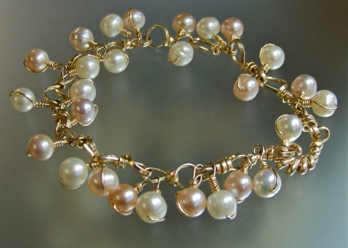 Gold Filled Natural Pearl Artisan Link Bracelet